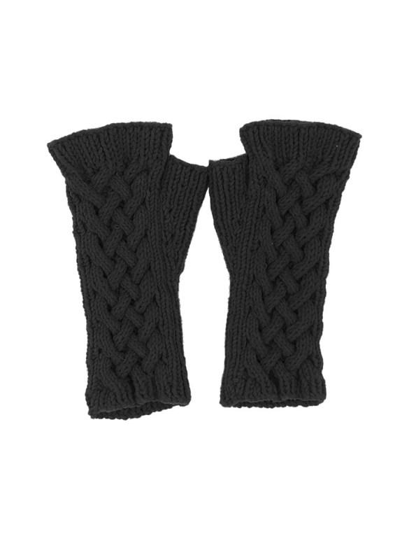 Erre Knitted Fingerless Gloves Black Short