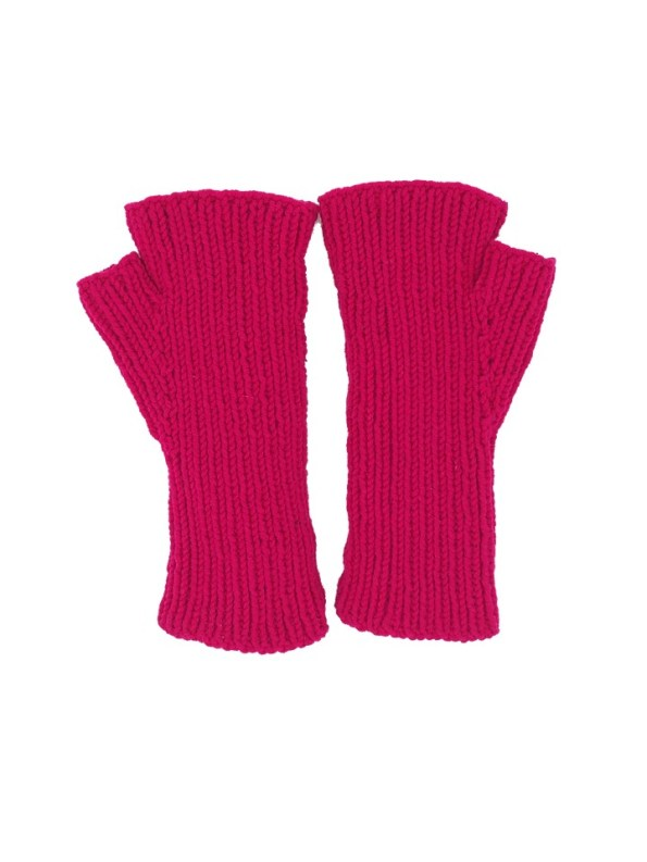 Erre Knitted Fingerless Gloves Pink Back