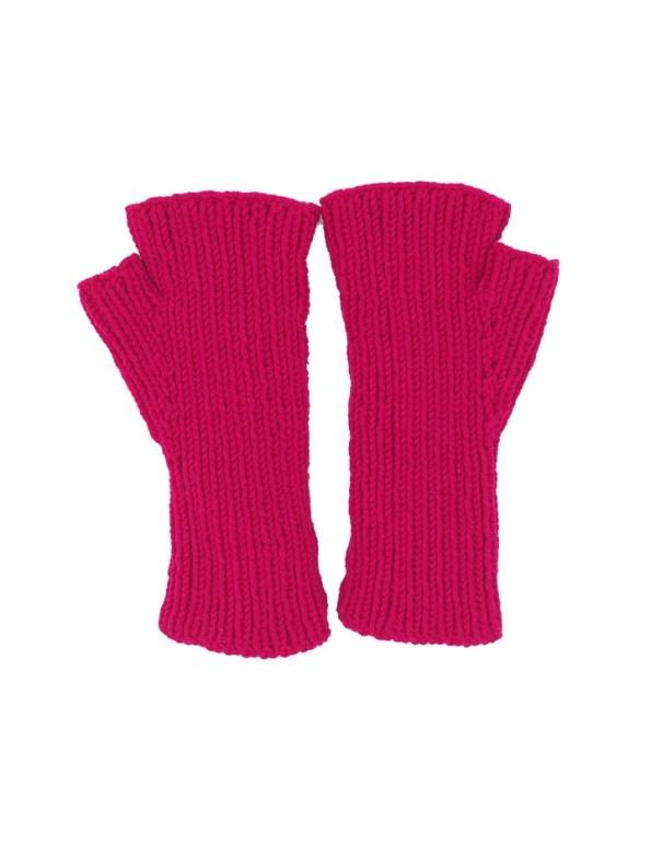 Erre Knitted Fingerless Gloves Pink Back