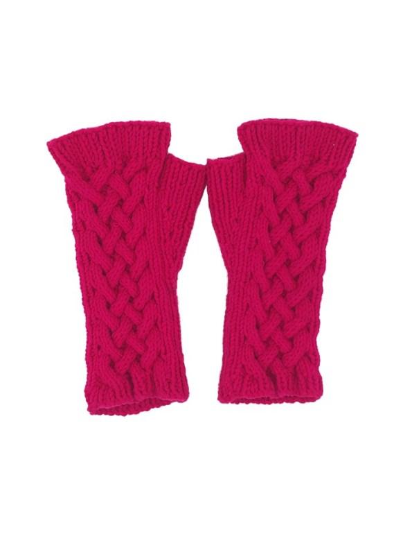 Erre Knitted Fingerless Gloves Pink