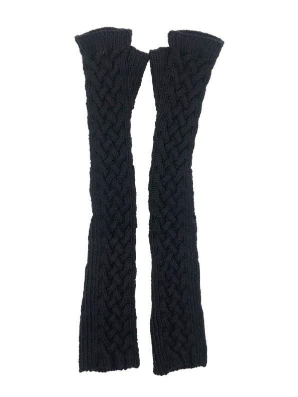 Erre Knitted Long Fingerless Gloves Black