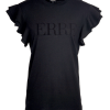 Logo T-shirt South Africa Black Ruffle Sleeve