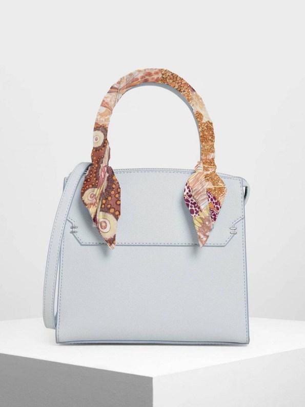 How to wear a silk Twilly Scarf Around Your Bag Handle Oceanum Coral Aureum