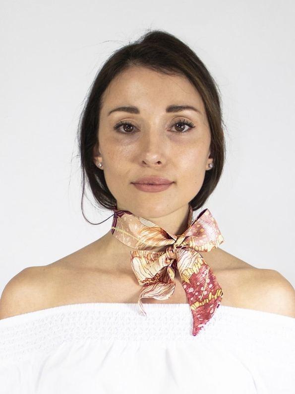 How to wear a silk Twilly Scarf Bow Oceanum Coral Aureum