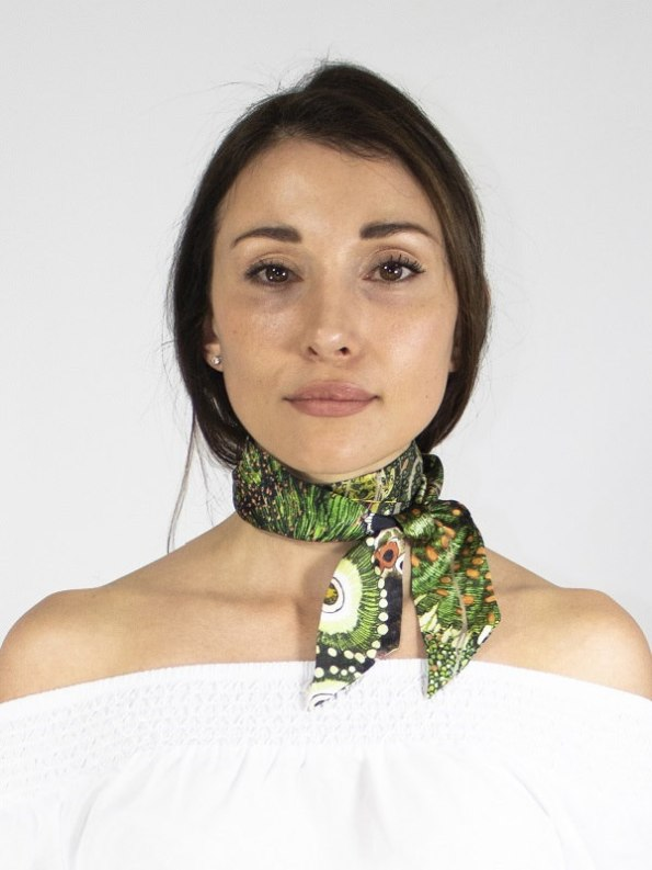 How to wear a silk Twilly Scarf Bow Oceanum Moss Aureum