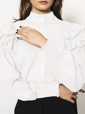 White linen blouse with frill South Africa