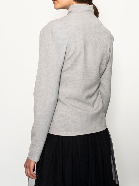 Smudj Margot Jacket Light Grey Back Cropped