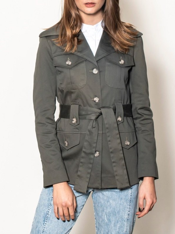 Smudj Peggy Safari Utility Jacket Forest Green Cropped Front