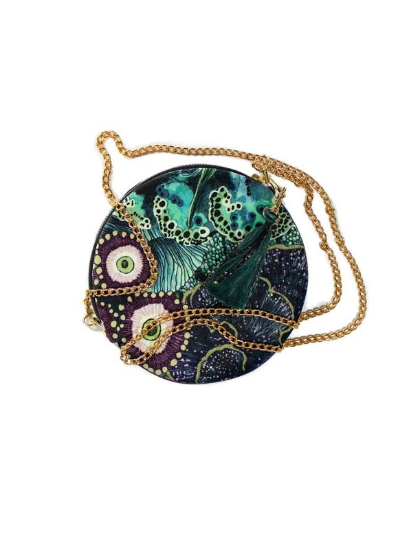 Wanderland Collective Oceanum Round Pouch Bag Azure with Tassel and Chain