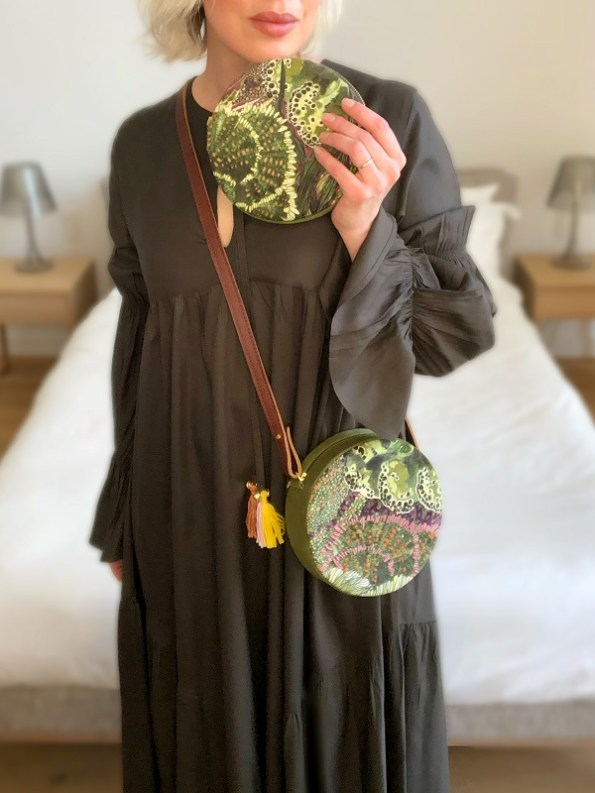 Wanderland Embroidered Round Bag and Pouch Moss with Asha Eleven Raha Dress