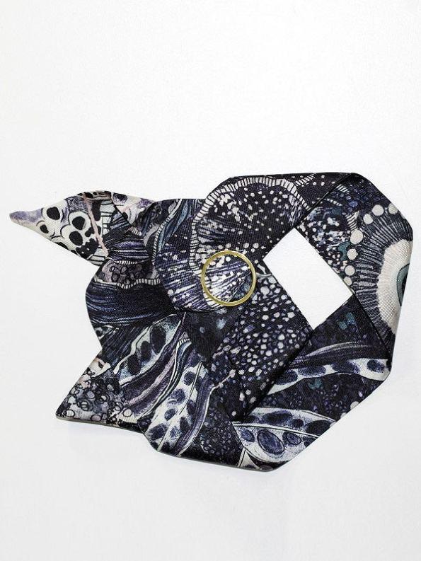 Wonderland Collective Oceanum Silk Twilly Scarf with Gold Ring Urchin