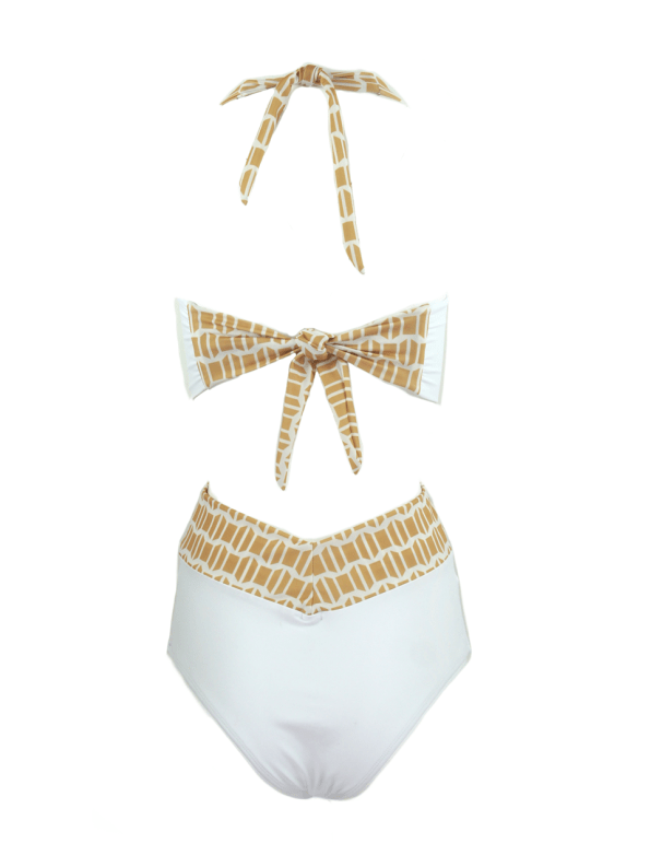 African Style Story Gisele Swimsuit White with Gold Doors Back