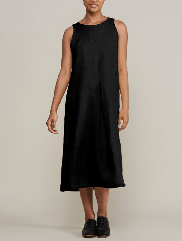 Mareth Colleen Camille Black Linen Dress Front