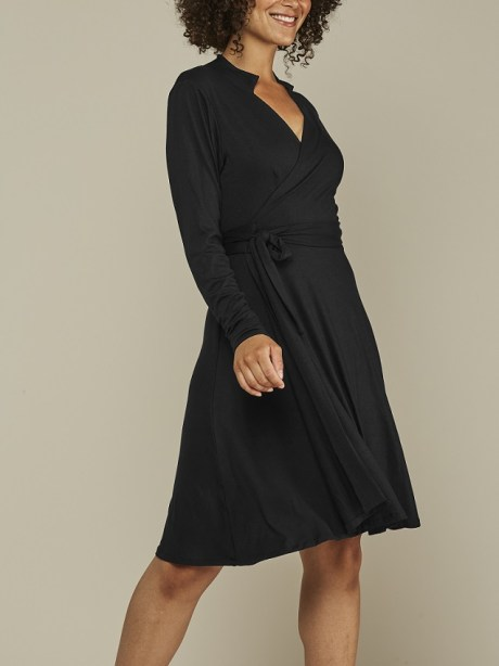 black wrap dress with long sleeves South Africa
