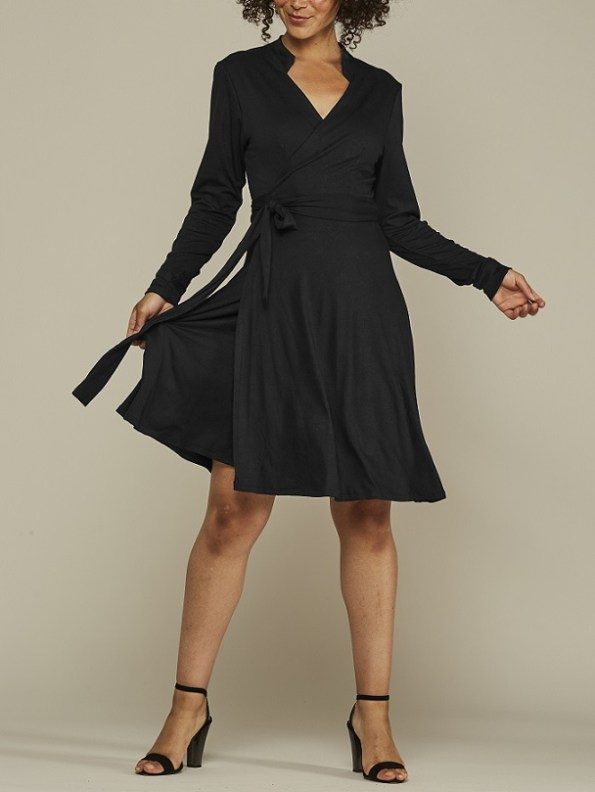 Mareth Colleen Hentry Wrap Dress Black with Long Sleeve