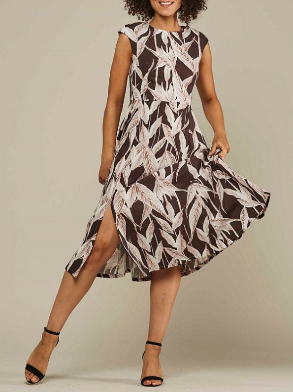 Mareth Colleen Jan Leaf Print Linen Dress Front