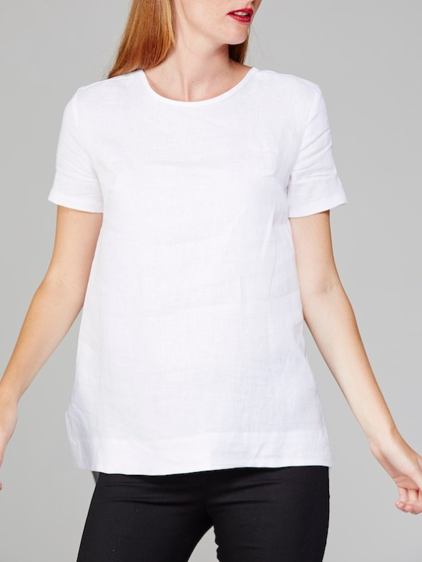 Mareth Colleen May Top White Linen Front Crop