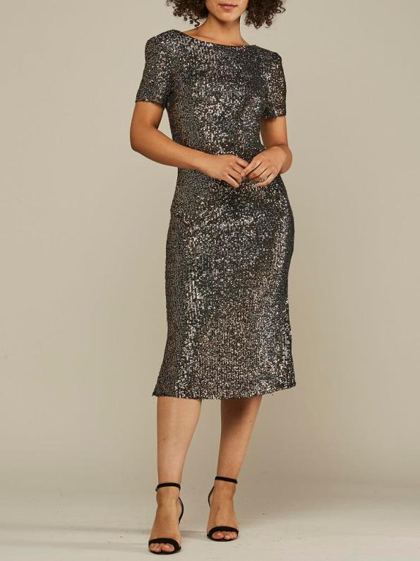 Mareth Colleen Sequin Dress Gold and Silver Front