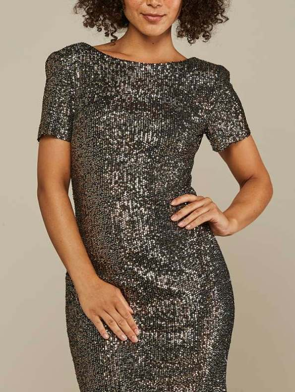 Mareth Colleen Sequin Dress Silver and Gold Cropped