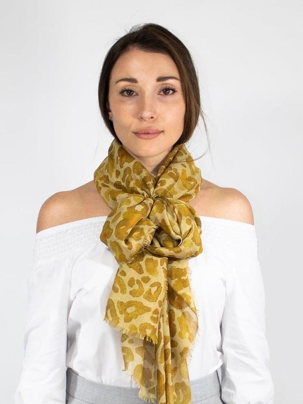 Wanderland Collective Aureum Leopard Silk Scarf Around Neck