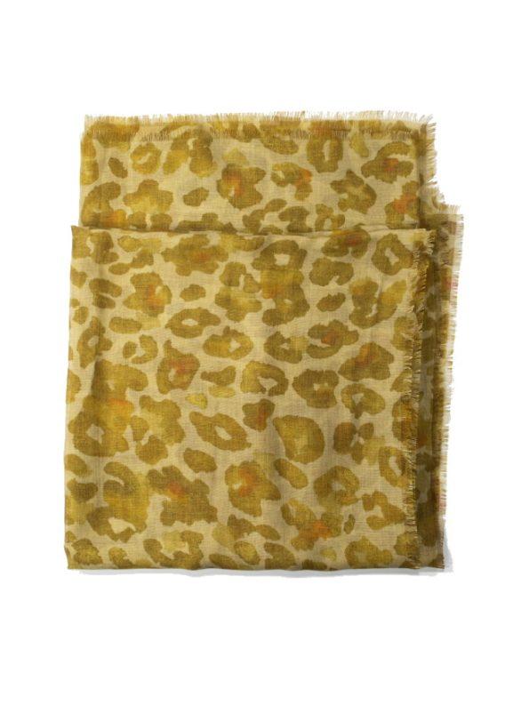 Wanderland Collective Aureum Leopard Silk Scarf Folded