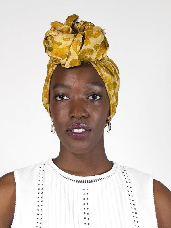 Wanderland Collective Aureum Leopard Silk Scarf On Head