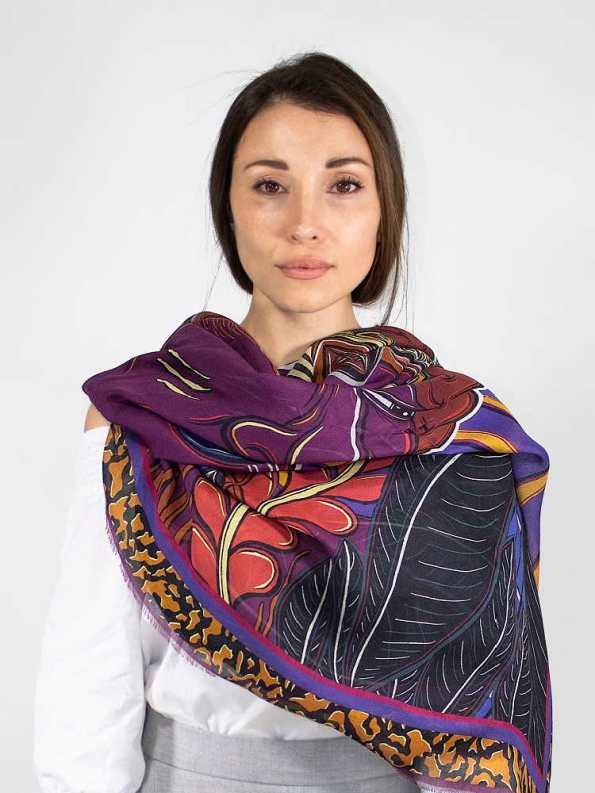 Wanderland Collective Zhi Zulu Matriarch Silk Scarf Styled Over Shoulder
