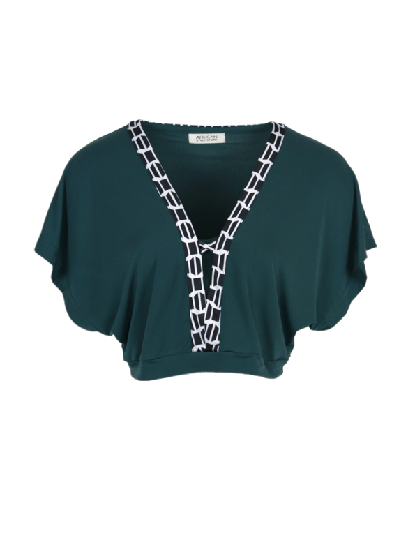 African Style Story Green 3-in-1 Dress Black & White Top