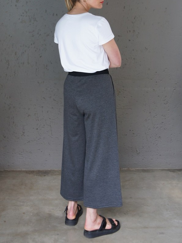 JMVB Athleisure Culottes Charcoal with White Tee Shirt Back