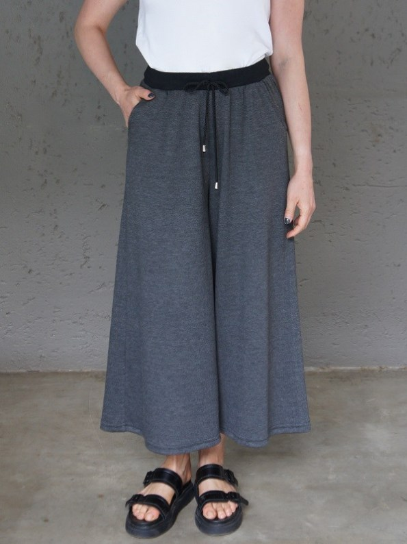 JMVB Athleisure Culottes Charcoal with White Tee Shirt Cropped