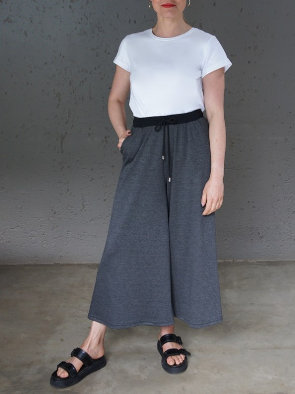 JMVB Athleisure Culottes Charcoal with White Tee Shirt Front