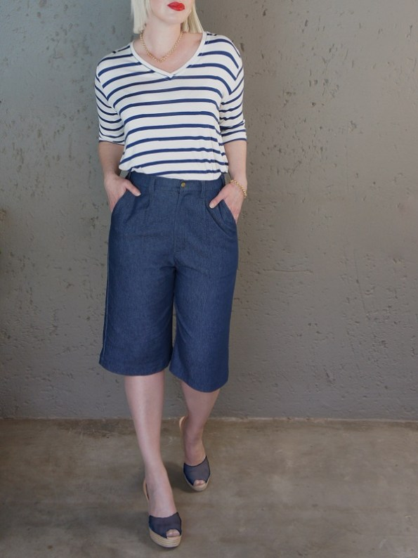 JMVB Bermuda Shorts Blue Denim with Striped T-shirt