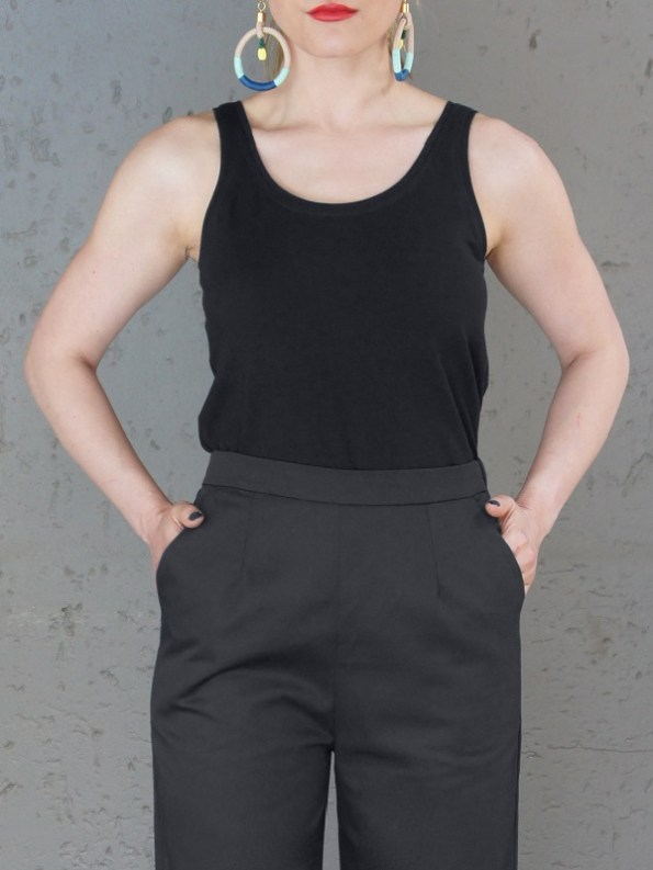 JMVB Black Tank Top and Black Culottes Crop