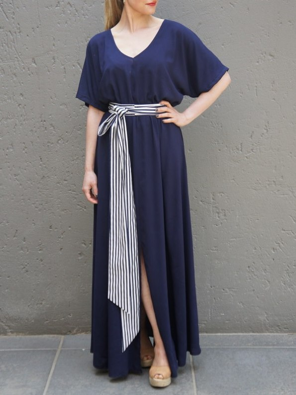 JMVB Bordeaux Maxi Dress Navy with Striped Belt Front