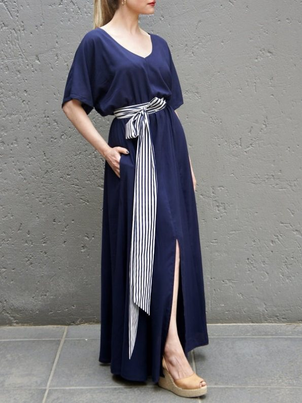 JMVB Bordeaux Maxi Dress Navy with Striped Belt Side