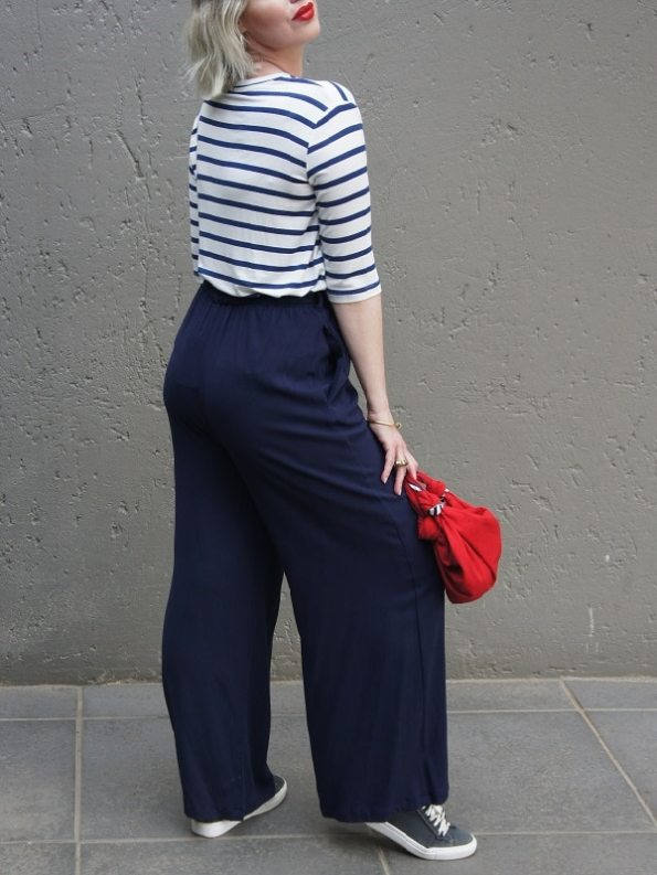 JMVB Cannes Pants Navy with Striped Shirt Back