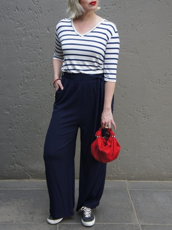 JMVB Cannes Pants Navy with Striped Shirt with Bag