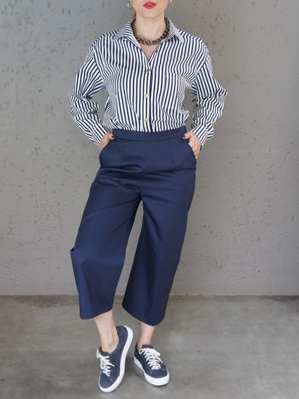 JMVB Striped Boyfriend Shirt with Navy Culottes Front