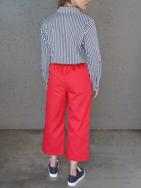 JMVB Striped Boyfriend Shirt with Red Culottes Back