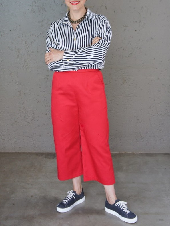 JMVB Striped Boyfriend Shirt with Red Culottes Front