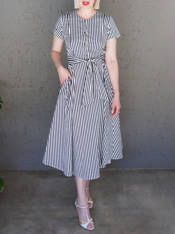 JMVB Striped Dress Front Pocket