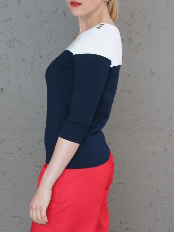 JMVB Three Quarter Sleeve Top Navy and White Side Cropped