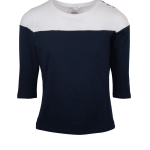 navy and white 3/4 sleeve colour block top South Africa