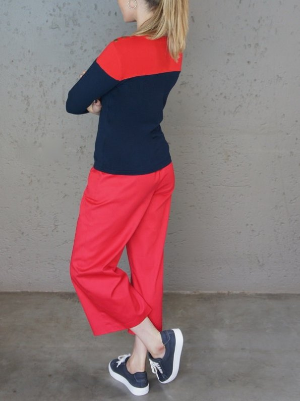 JMVB Three-quarter Sleeve Colour Block Top Navy and Red Back