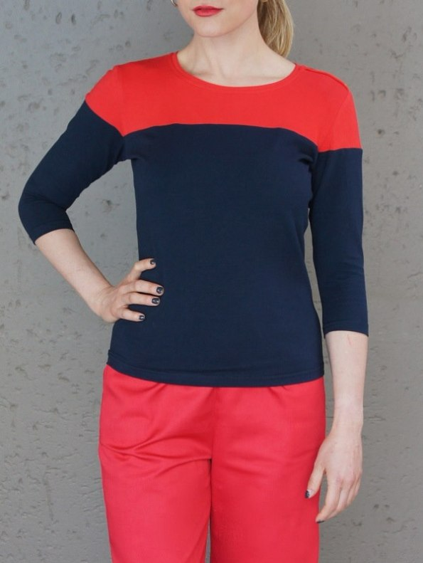 JMVB Three-quarter Sleeve Colour Block Top Navy and Red Cropped