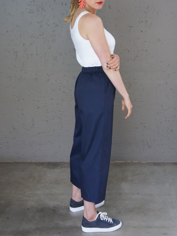 JMVB White Tank Top with Navy Culotte Back