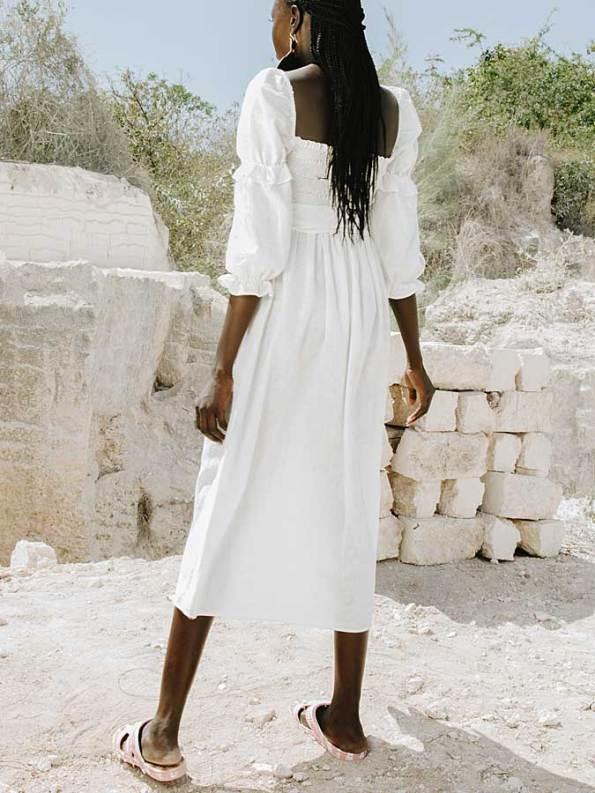Asha Eleven Jani Dress White Linen Back