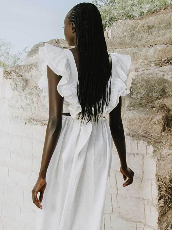 Asha Eleven Pambo Dress Off-white Back