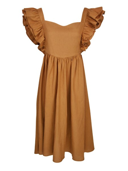 Brown hemp dress with ruffles South Africa