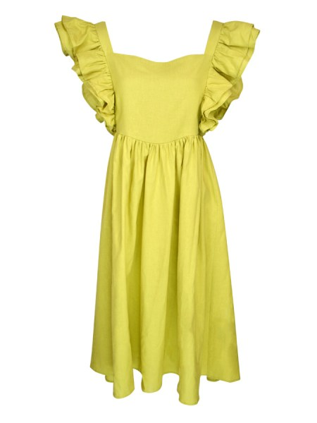 green hemp linen dress with ruffles South Africa